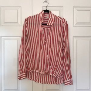 Red and White Striped Flowy Beach Top